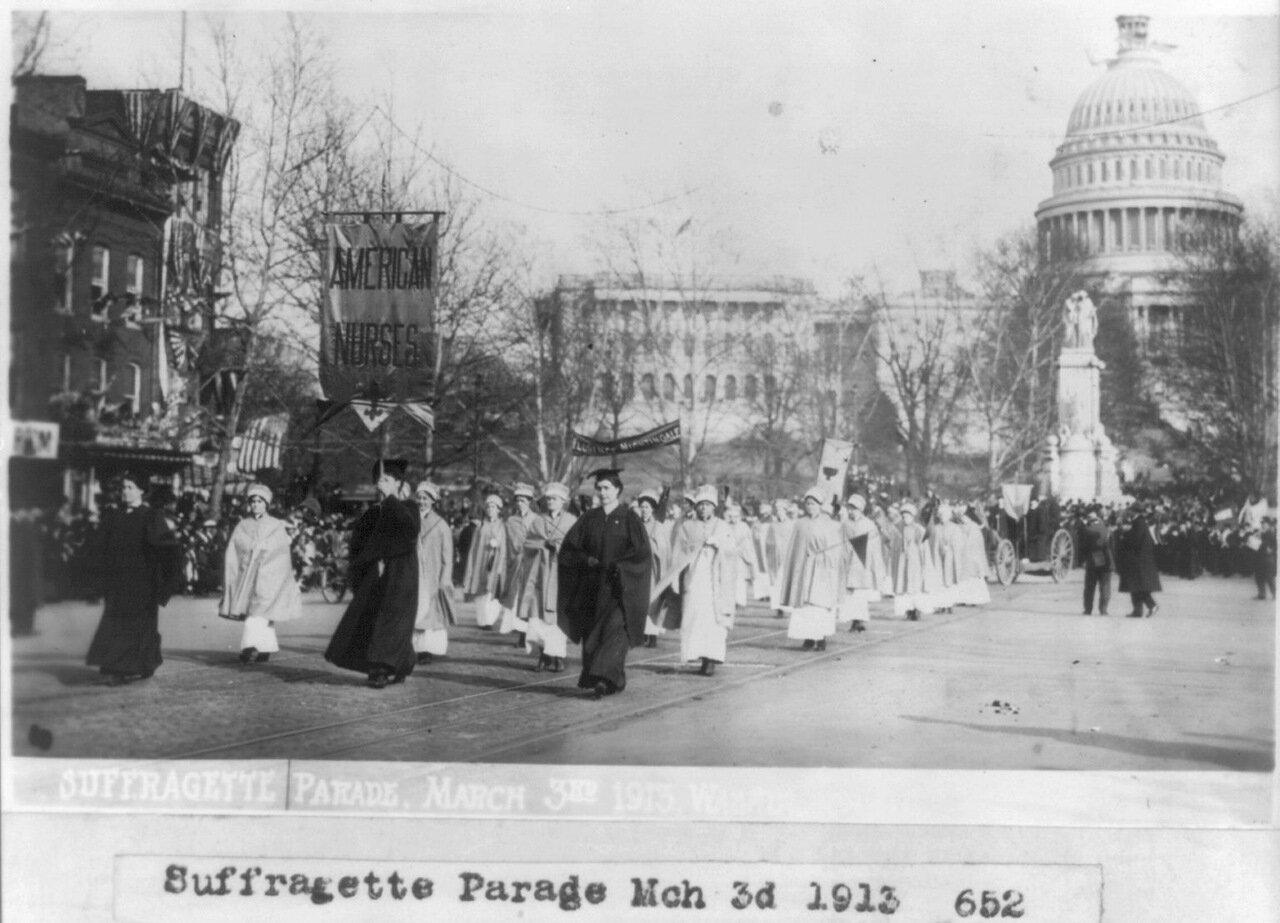 Американские медсестры на параде суфражисток. 3 марта 1913 г.