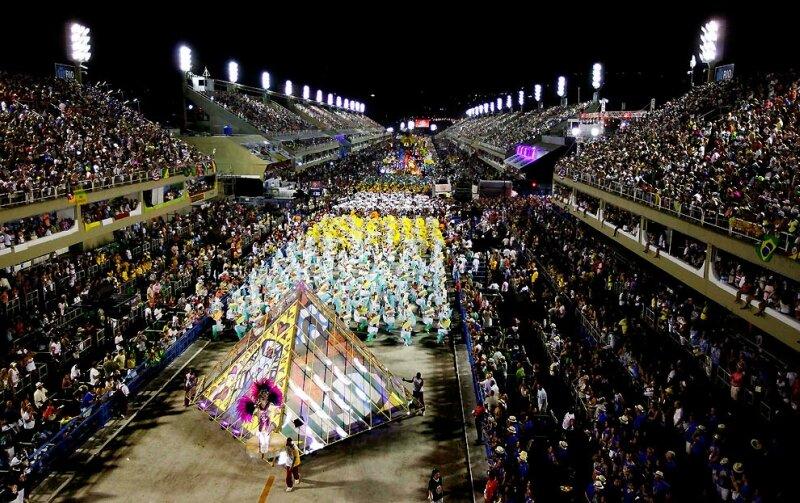 The Renascer de Jacarepagua samba school parades during celebrations at the Sambadrome in Rio de Janeiro. (Felipe Dana/Associated Press)