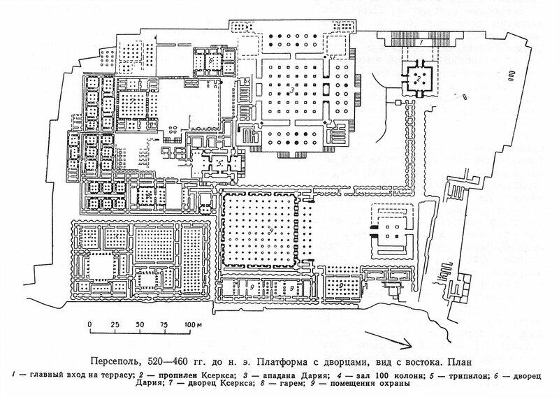 Персеполь, дворцовый комплекс, план платформы с дворцами