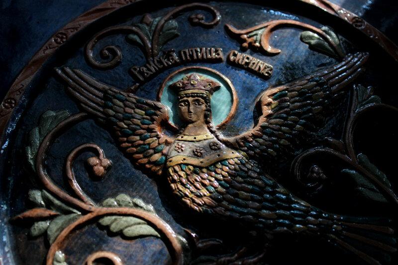 А. Климков. Райская птица Сирин. Керамика