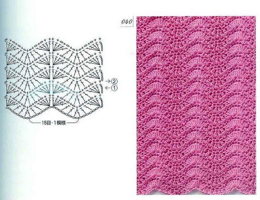 узор спицы схема зигзаги