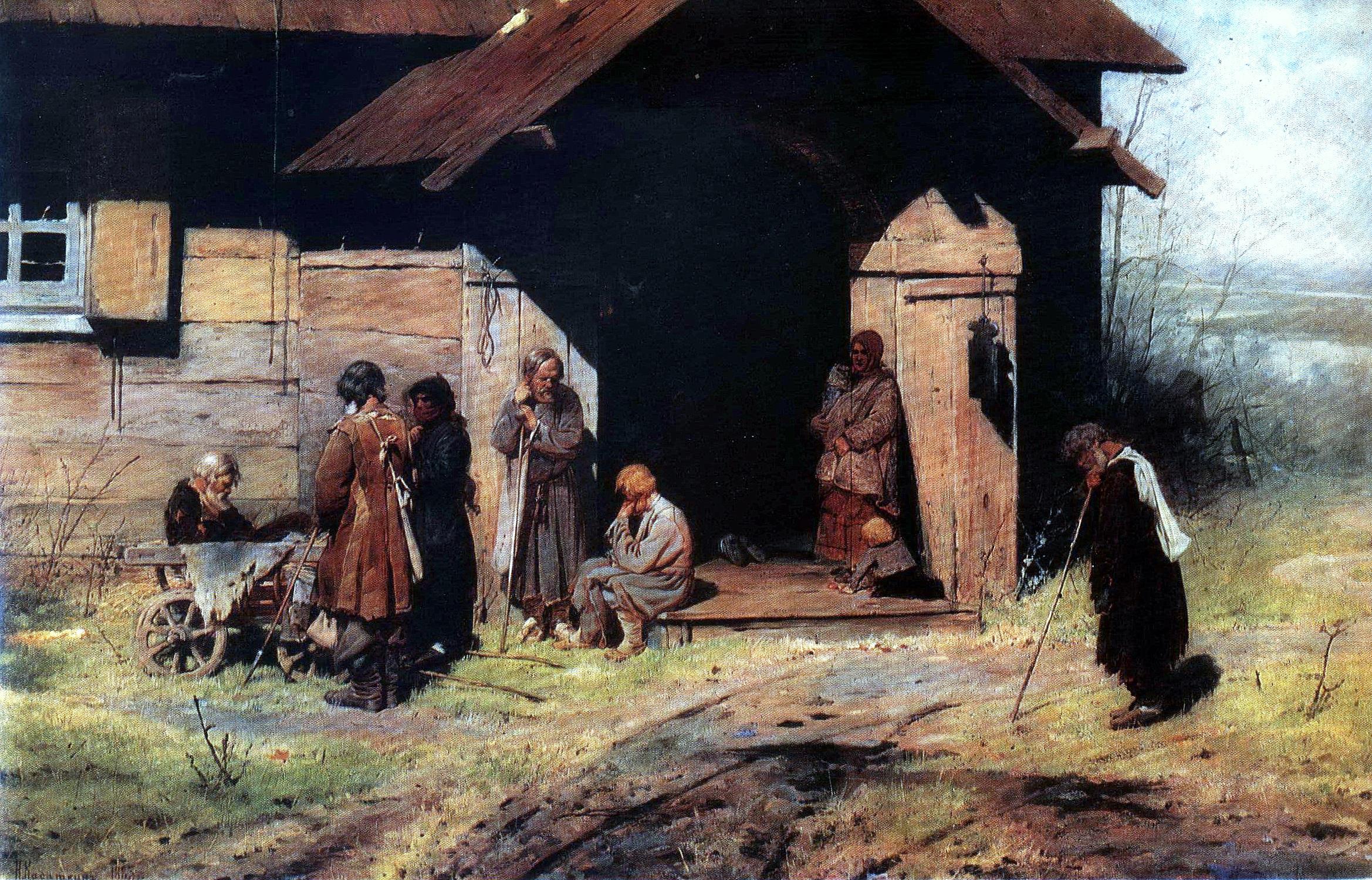 Русские художники, живопись, Н.А.Касаткин, У часовни ,