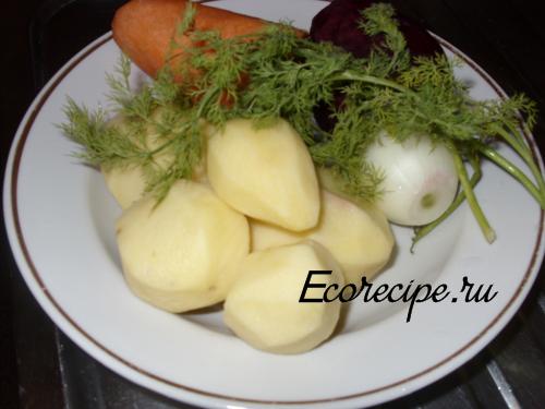 Ингредиенты для приготовления горячего свекольника
