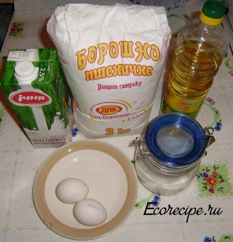 Ингредиенты для приготовления тонких блинов на молоке