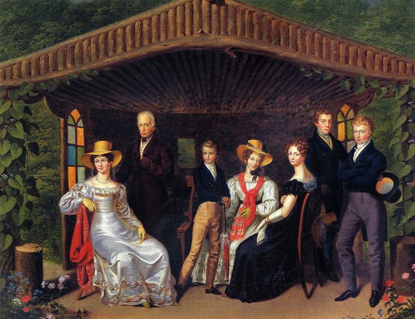Семейный портрет царской семьи вокруг герцога Рейхштадтского (1826, Леопольд Fertbauer). Слева направо: Каролин Августа Баварии, императрицы Австрии; Франциск I, император Австрии; Наполеон II Франции, герцог Рейхштадтского; София Баварская, эрцгерцогиня
