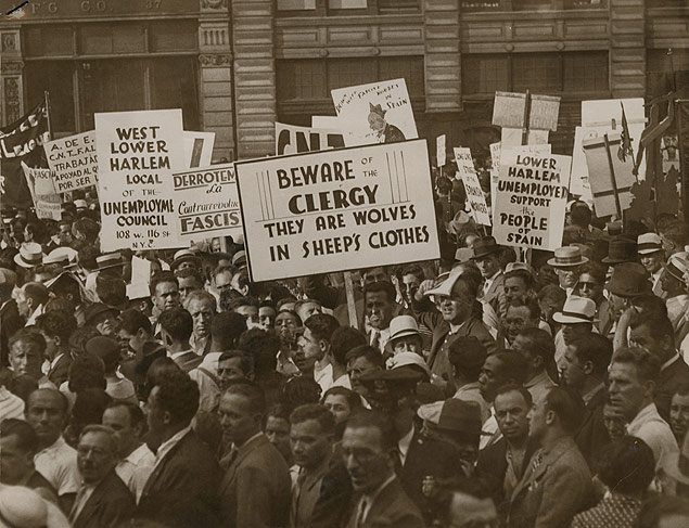 Communist sympathizers hold a protest in Union Square in support of the Spanish Revolution