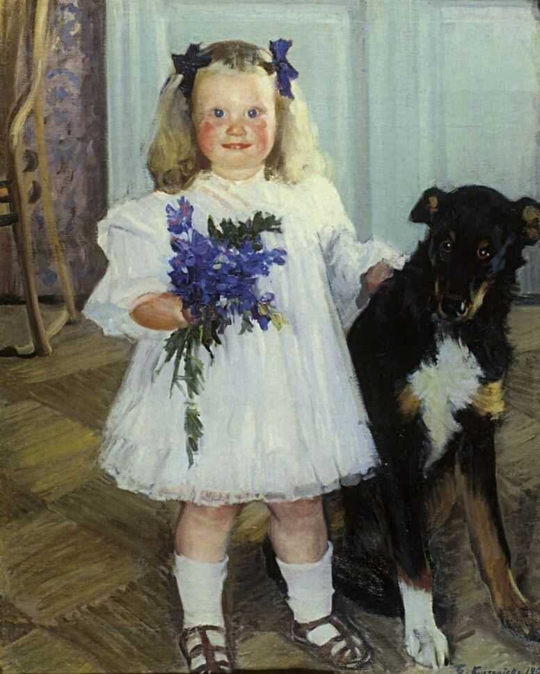 Кустодиев, Портрет Ирины Кустодиевой с собакой Шумкой. 1907