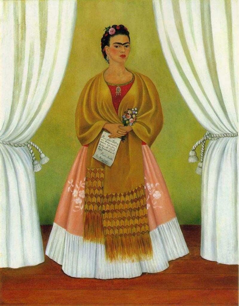 Автопортрет, посвящённый Троцкому, 1937г. Self-Portrait (Dedicated to Leon Trotsky), 1937, Кало Фрида,  (1907-1954)