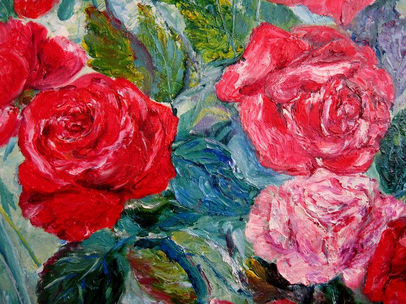 фрагмент к картине Розовый куст