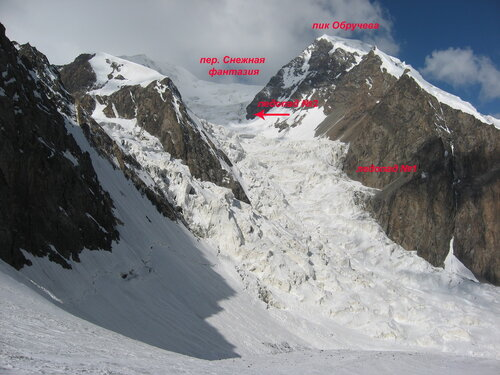 Вид на первый ледопад Снежной фантазии