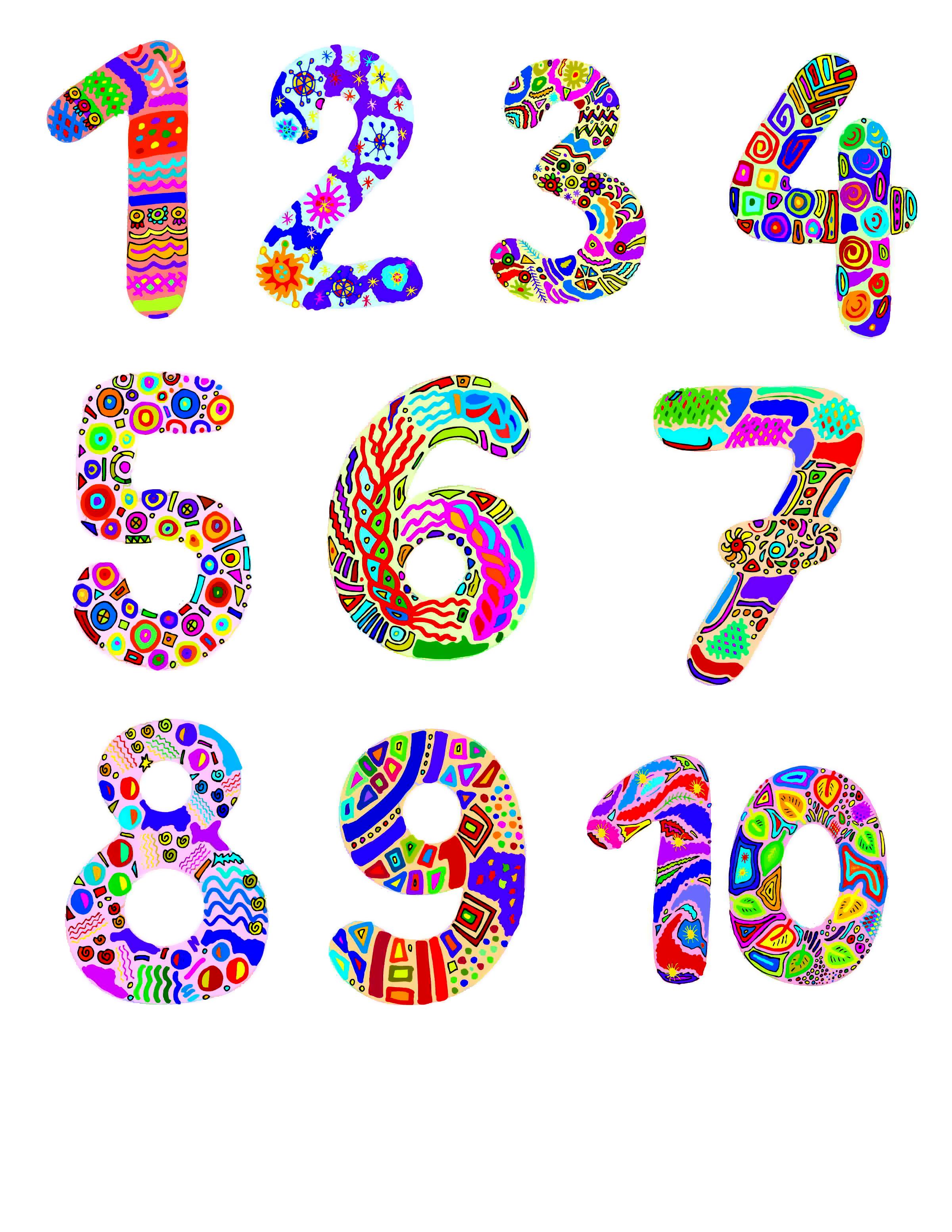 уже красивые цифры для оформления рисунок кот