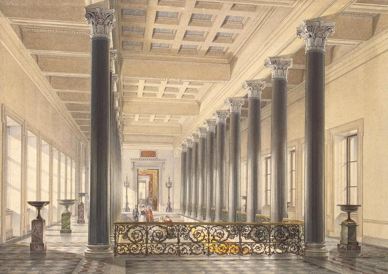 Интерьеры Нового Эрмитажа. Верхняя площадка лестницы