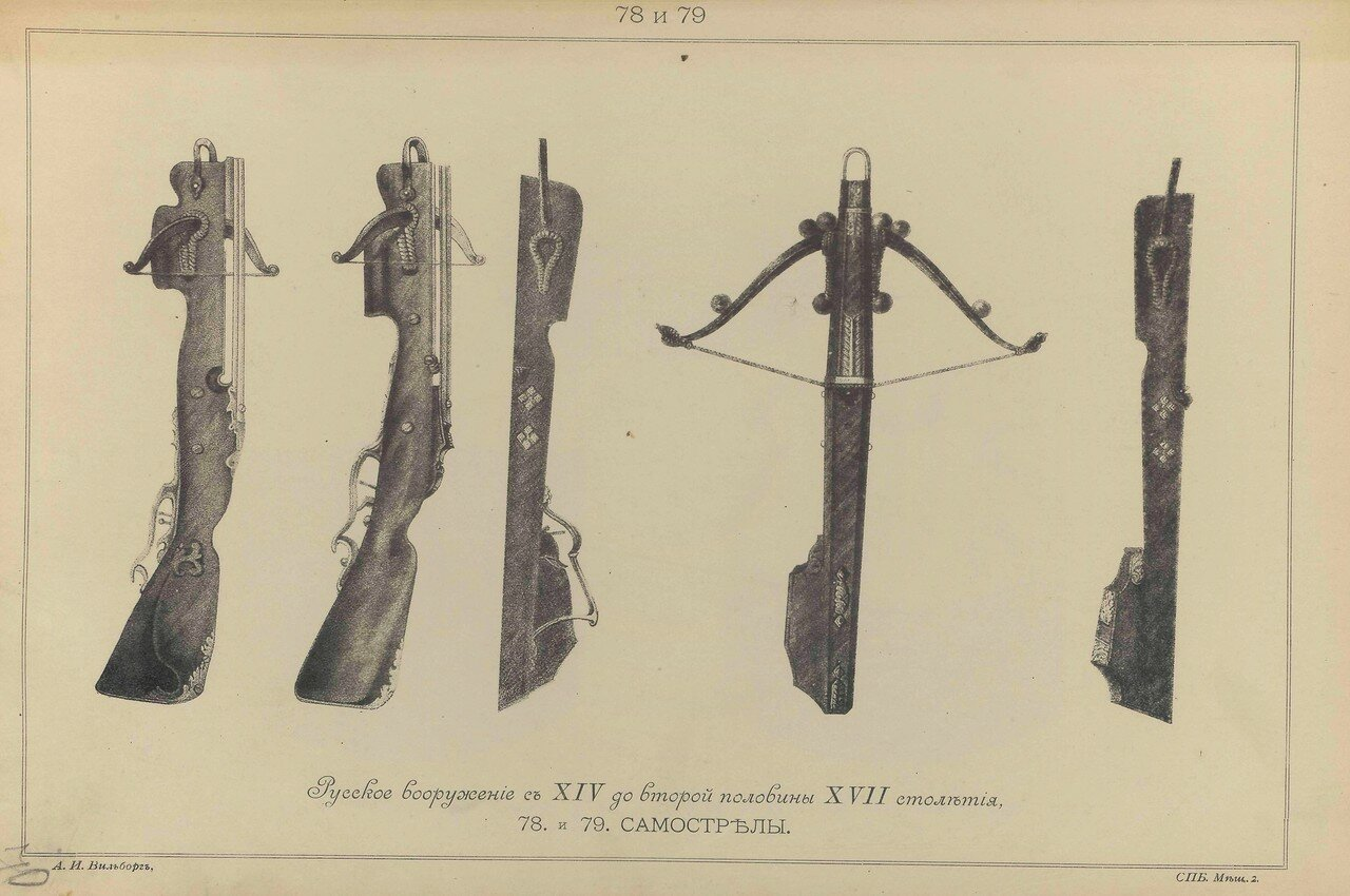 78-79.  Русское вооружение с ХIV до половины ХVII столетия. Арбалеты