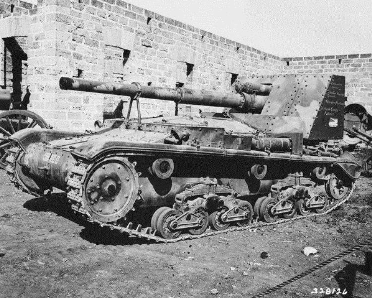 Брошенная итальянская 90-мм САУ Semovente da 90/53.