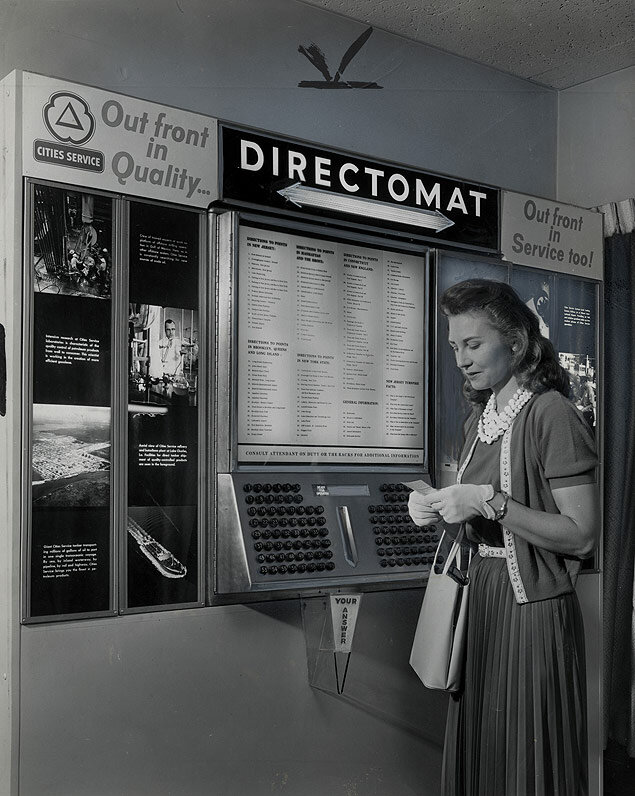 The Cities Service new Directomat, located on the New Jersey Turnpike, gives travelers directions at the push of a button