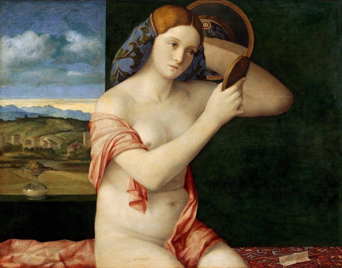 Обнажённая перед зеркалом (1514-16)__Беллини, Джованни( ок.1430—1433 — 1516);  Музей истории искусства, Вена.