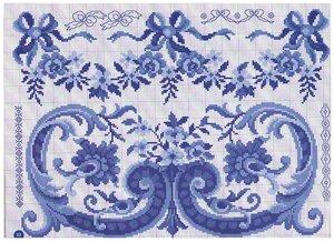 Вышивка в синих тонах схема