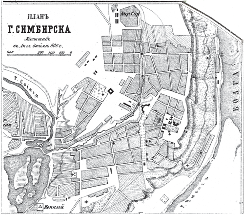 Генплан города Симбирска  на 1876 год