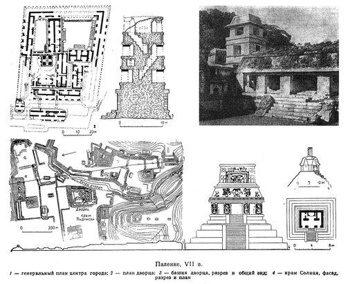 Паленке, генеральный план, храм Солнца, чертежи