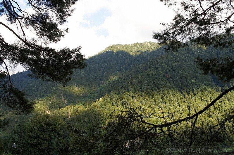 Вид со склона на другой берег Риони
