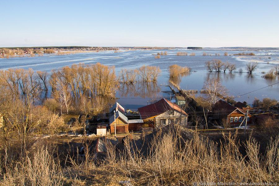 Половодье на реке Мокша в Краснослободске