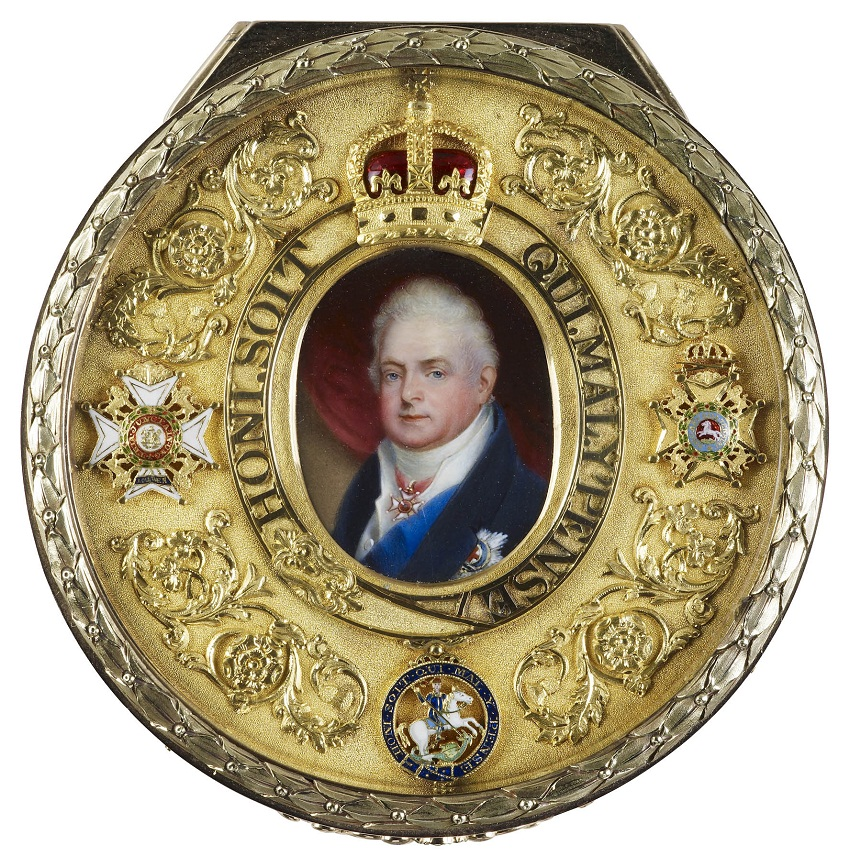 Gold box inset with miniature of William IV (1765-1837) when Duke of Clarence  c. 1817 ��������, �� ���������� Collection. �� �������� ����� ��� ������ ������ V � ���� ��� ��������, 3 ���� 1925 ����.