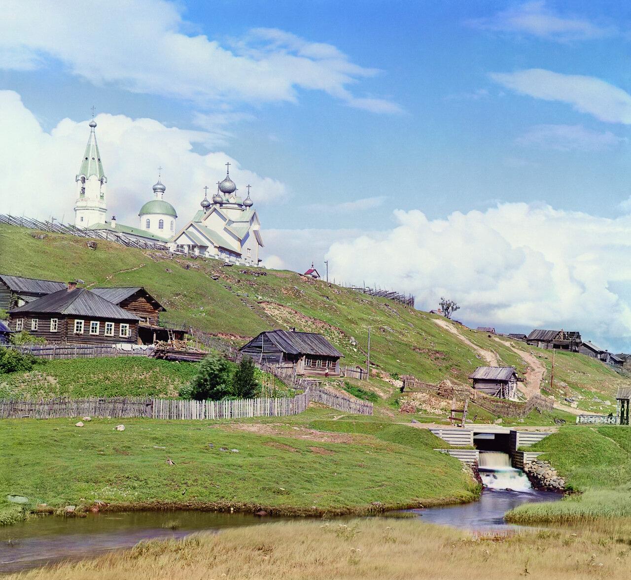 Село Девятины и водоспуск шлюза св. Бориса. 1909 год