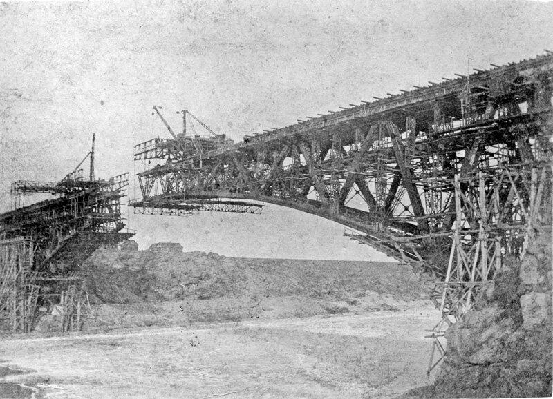 Строительство моста через Днепр возле Хортицы