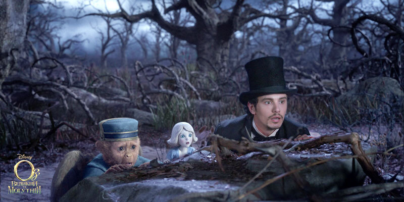 """""""OZ: THE GREAT AND POWERFUL""""Finley (voiced by Zach Braff), left; China Girl (voidced by Joey King), center;  James Franco, right©Disney Enterprises, Inc. All Rights Reserved."""