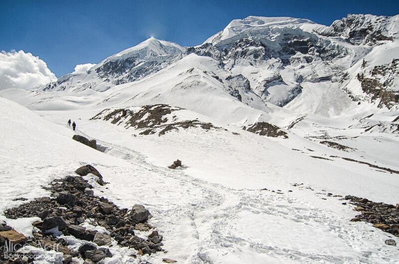Тропа на перевал Торонг-Ла, гималаи, горы, снег