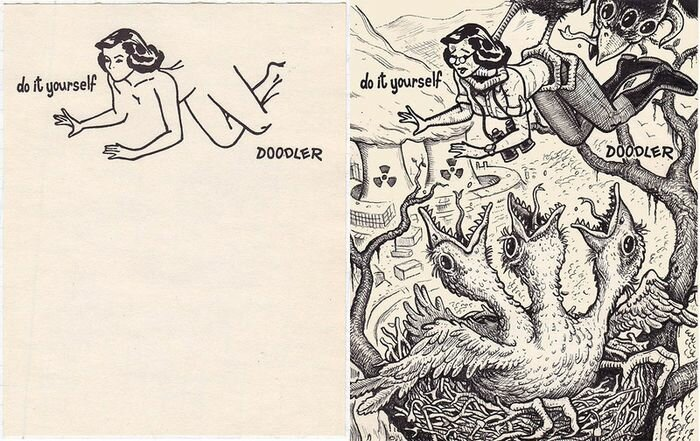 DO IT YOUSELF - Дорисуй это сам!  25 интересных сюжетов Дэвида Джэблоу, на основе одного рисунка.