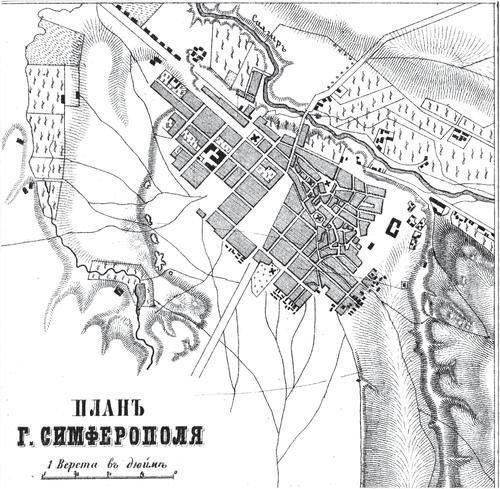 Генплан города Симферополя на 1876 год