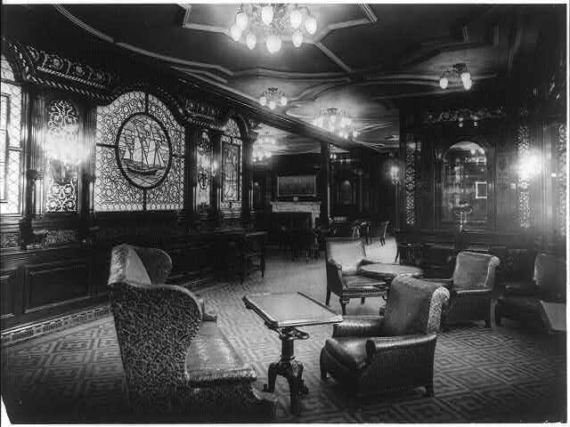 The S.S. OLYMPIC, 1911 Smoking room.