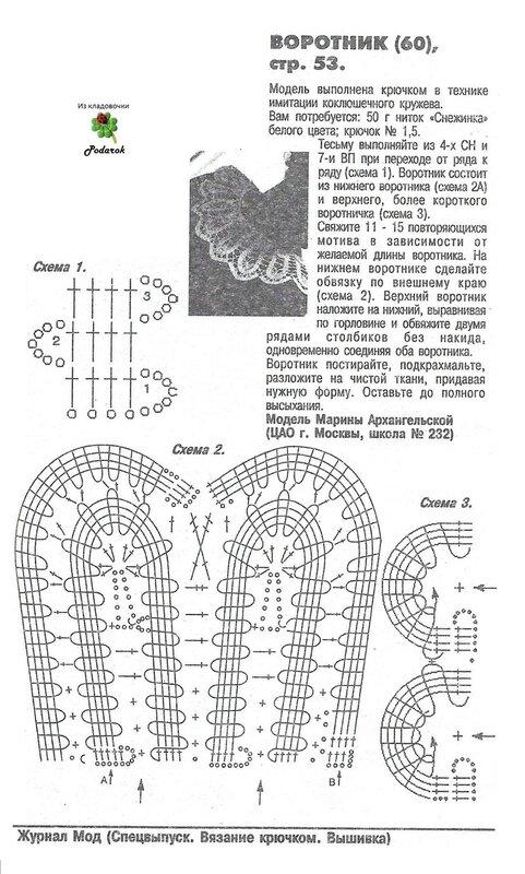 Схемы вязания воротничков крючком с описанием и схемами фото 41