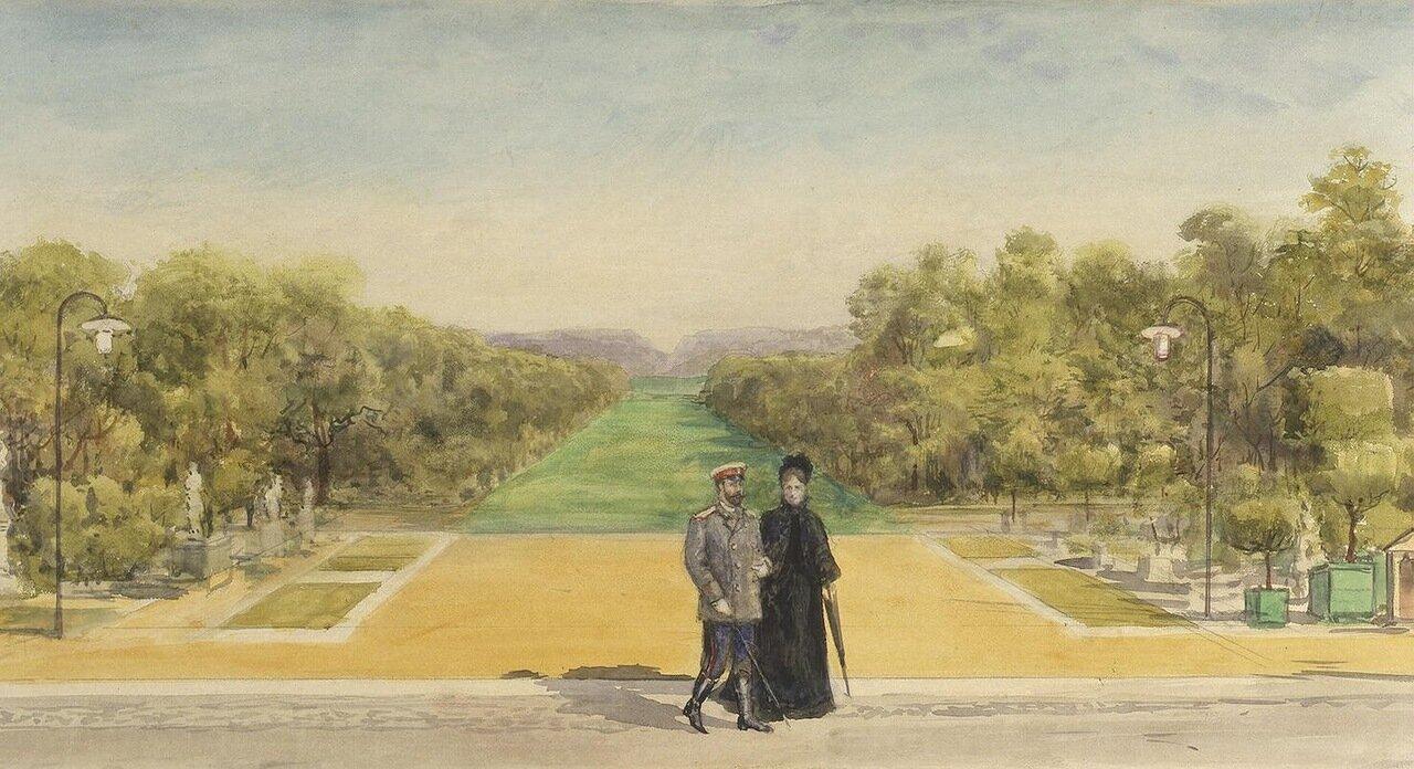 Императорская чета в парке замка Компьень