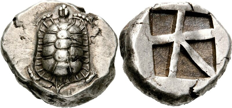 Silver stater from Aegina circa 455-431 BCE