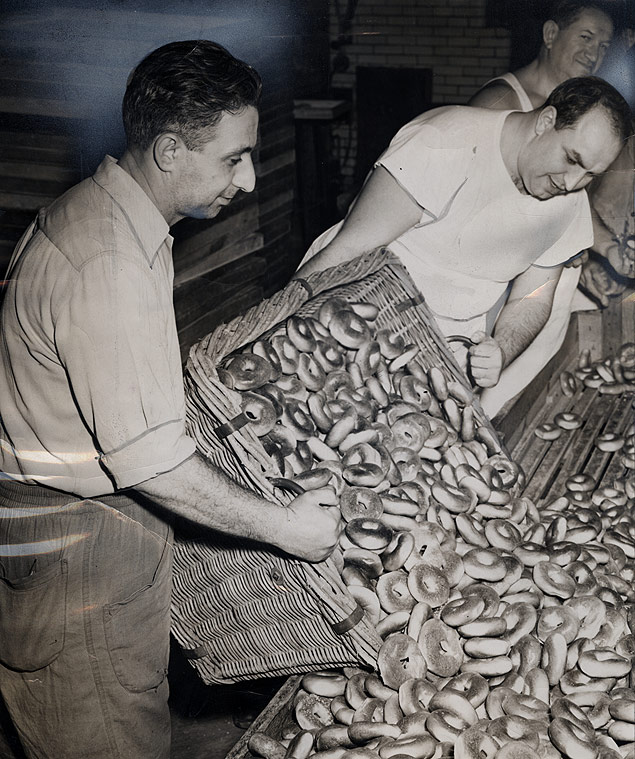 Following the bakery strike, Hy Masel and Barney Goldstein turn out fresh bagels at the East New York Sanitary Bagel Corp