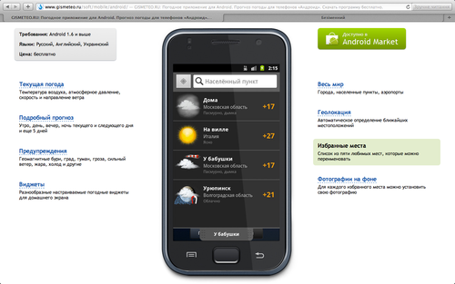 Gismeteo Weather Forecast Lite на сайте gismeteo.ru: избранные места