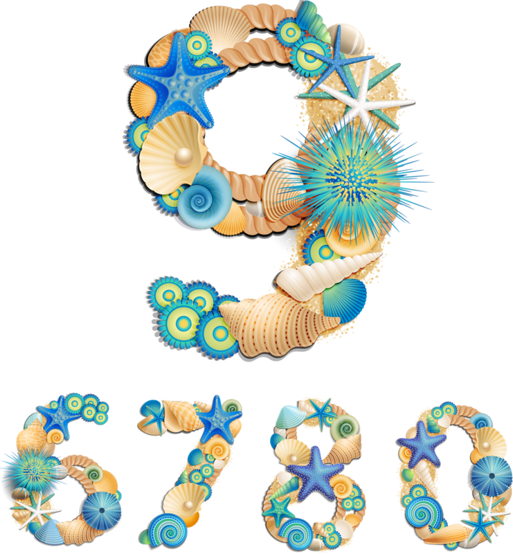 Sea life font on sand background vector (2).png