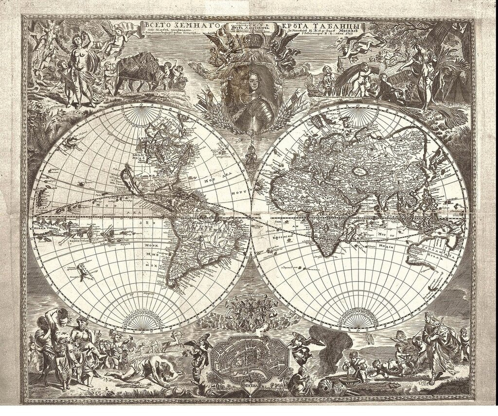 Российская карта мира 1707 года