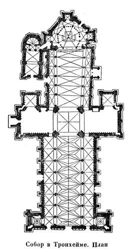 Собор в Тронхейме, план
