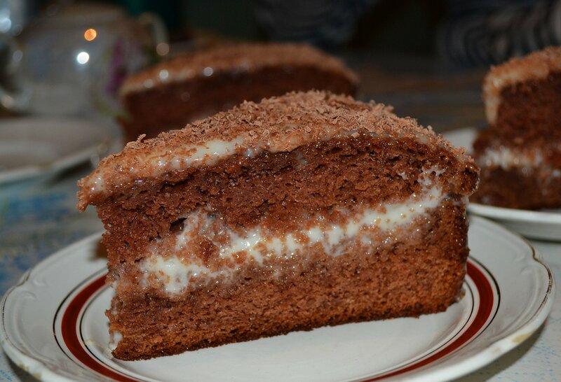 торт шоколадный со сметанным кремом с фото