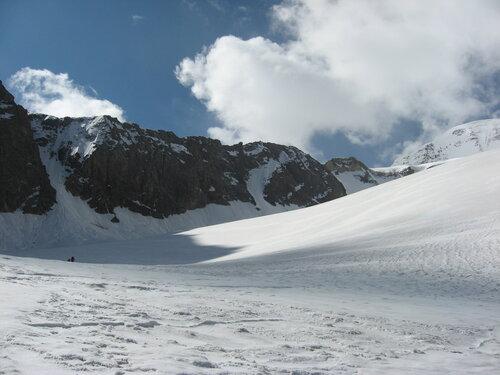 Обход ледопадов слева (правая сторона ледника орографически)