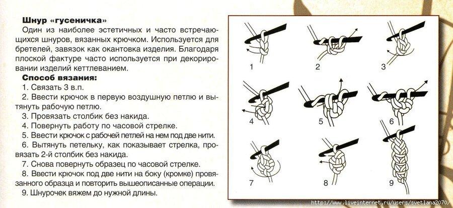 Вязание крючком простого жгута