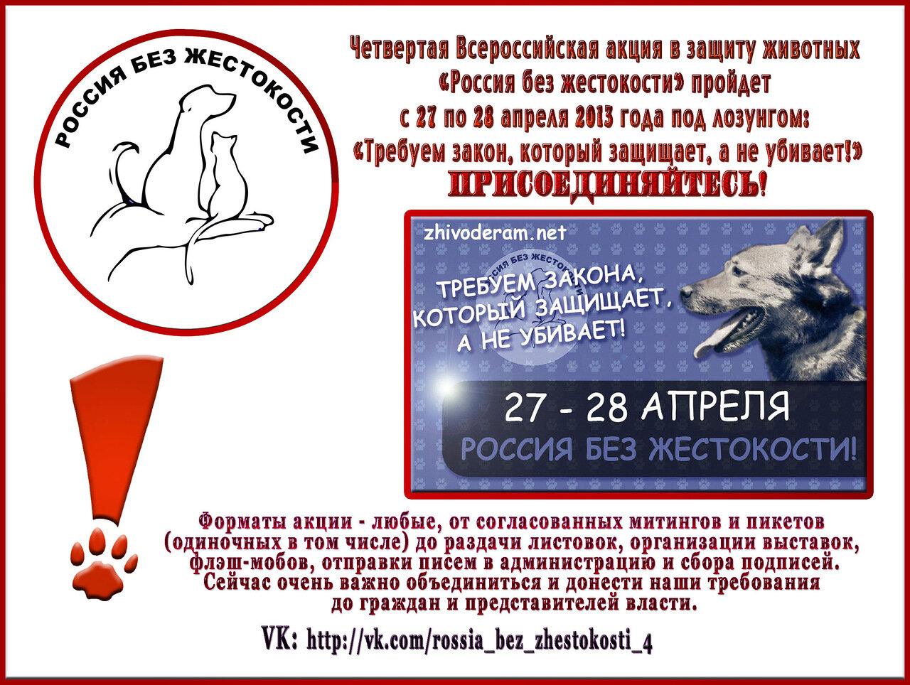 """27 и 28 апреля. Акция -  """"Россия без жестокости!"""""""