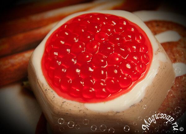 ручное мыло, мыло бутерброд с икрой, мыло с икрой, мыло с красной икрой, оригинальное мыло, идеи мыла, рецепт из мыльной основы