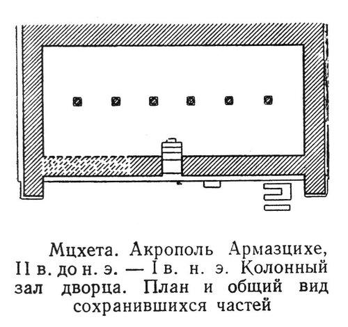 Колонный зал дворца акрополя Армазцихе, план