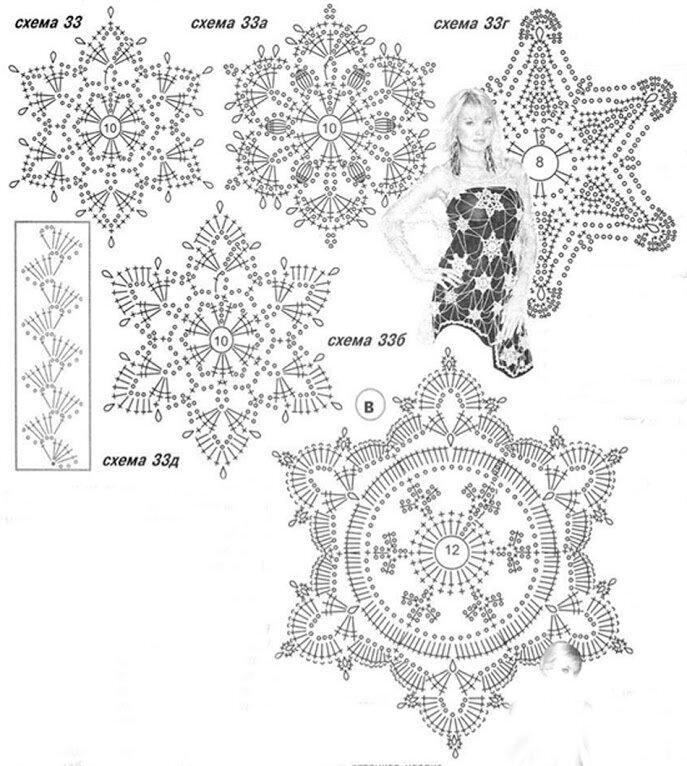 Метки: вязание схемы снежинки