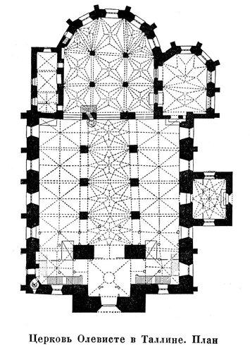 Церковь Олевисте в Таллине, чертеж плана