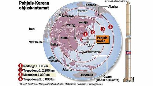 Зоны вероятного поражения ракетами КНДР